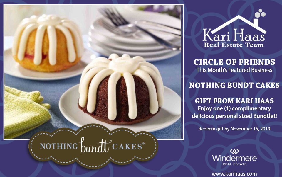 Circle of Friends promotional card with Nothing Bundt Cakes